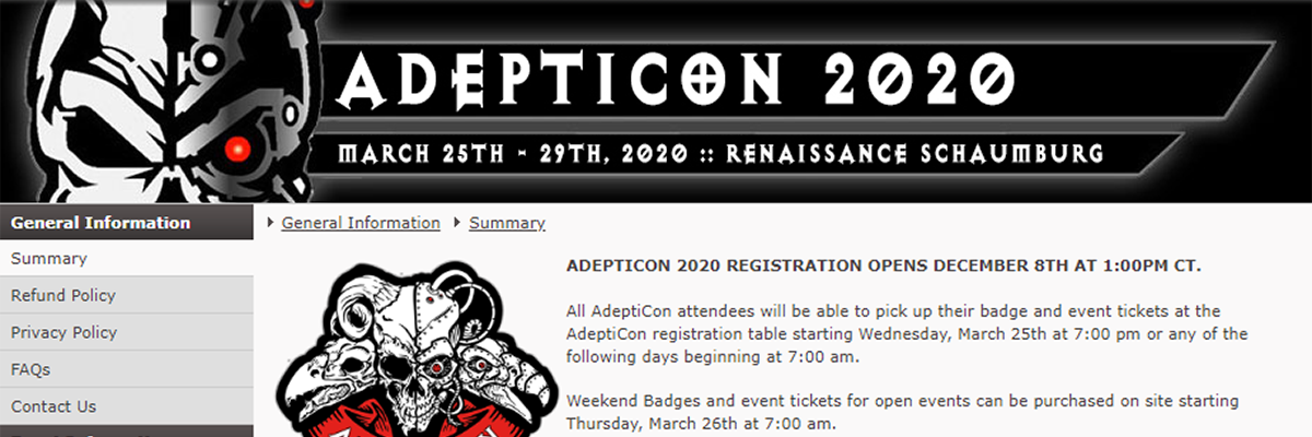 Ct Big List 2020.Adepticon March 25th 29th 2020